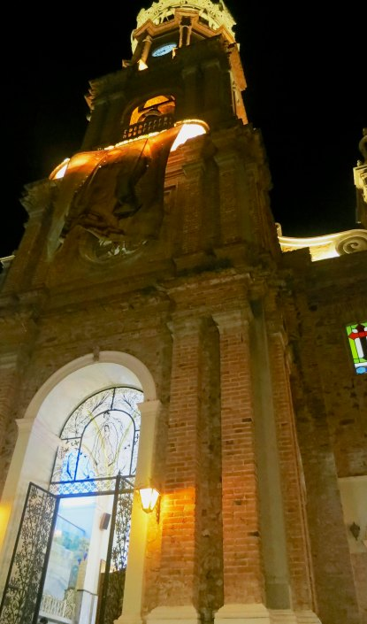 The Church of Our Lady of Guadalupe in Puerto Vallarta, Mexico at night. Photo by Curtis Mekemson.