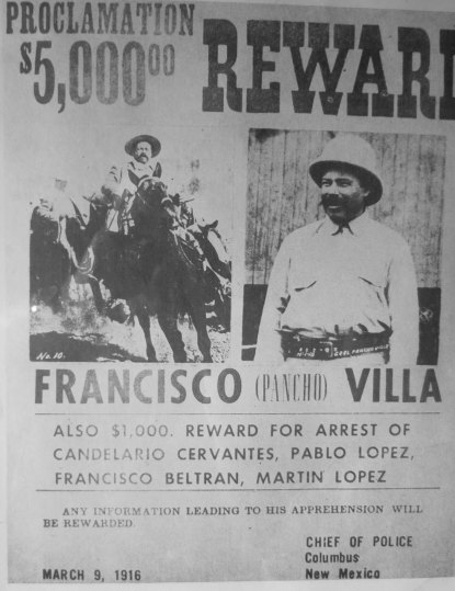 Pancho Villa's raid across the border into New Mexico to resupply military supplies made him a wanted man in the US and sent General John Pershing rushing into Mexico to capture him. Pershing and his troops spent a year chasing Villa through the mountains but never captured him. Pershing returned to the US to lead American troops in World War I.
