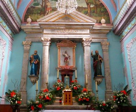 Inside Temple of Saint Sebastian in San Sebastian, Mexico. Photo by Curtis Mekemson.
