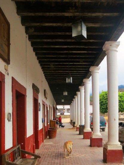 Walkway of building facing Revolution Square in San Sebastian, Mexico. Photo by Curtis Mekemson.