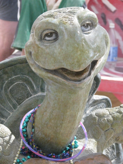 On a less monumental scale, the Center Camp Cafe at Burning Man is filled with art, such as this turtle.