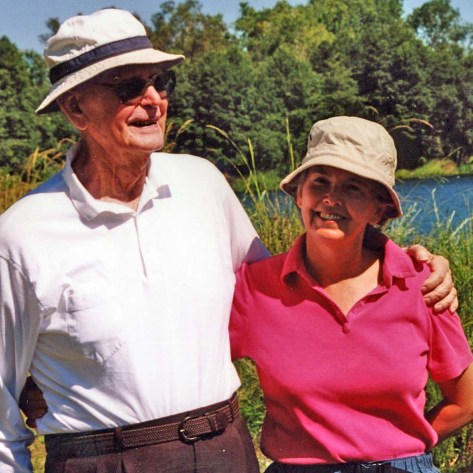 John Dallen and his daughter, Peggy Mekemson, on the American River Parkway in Sacramento, California.