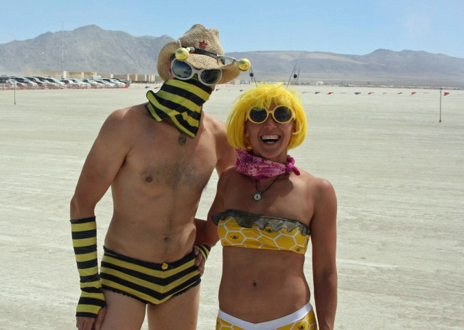 Or greet people when they arrive at Burning Man as these two welcomed Peggy and I.