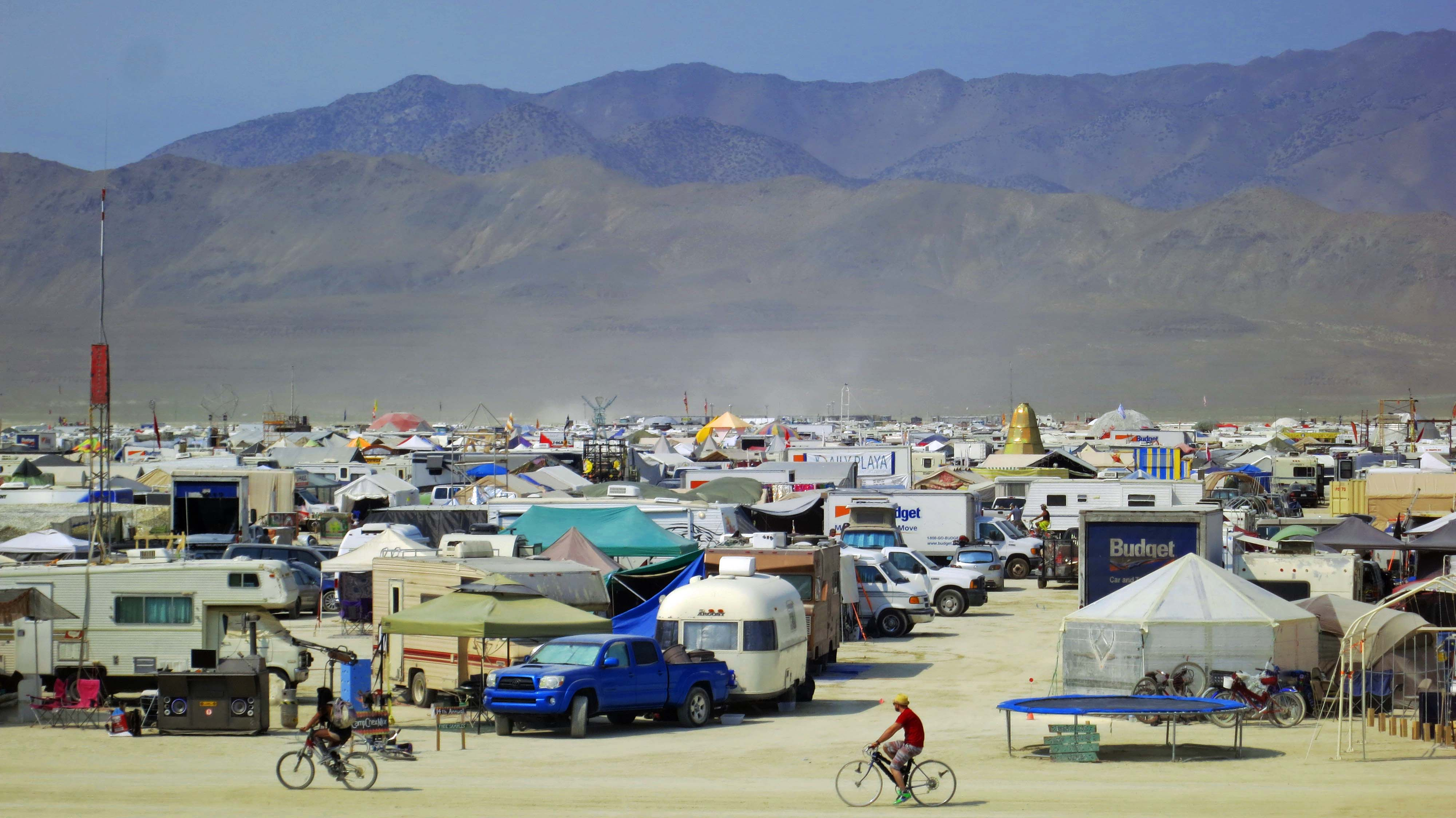 People come from all over the world to participate in Burning Man. Some set up an individual camp while others are members of large theme camps.