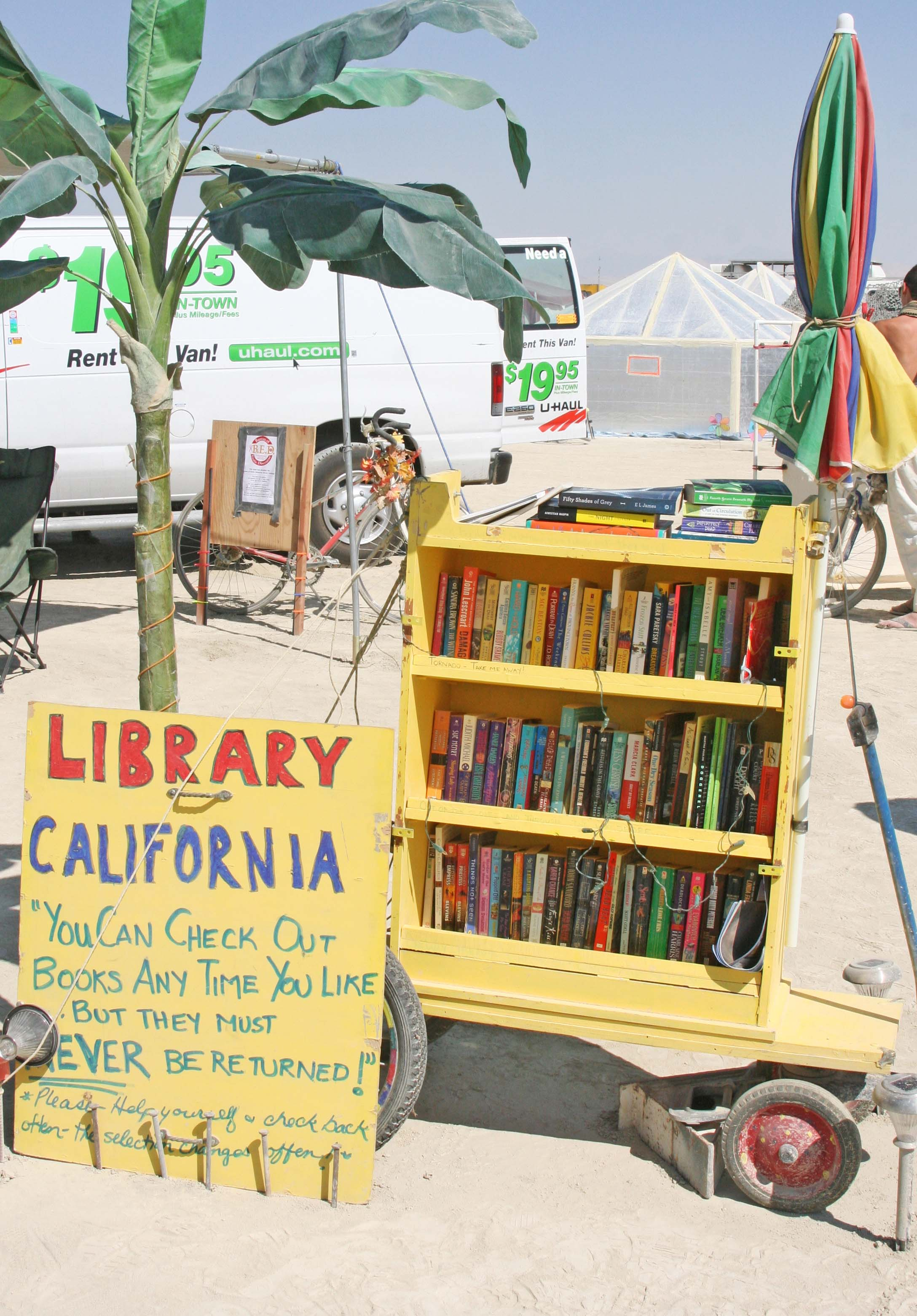 The California Library's form of gifting is giving away books, hundreds of them.