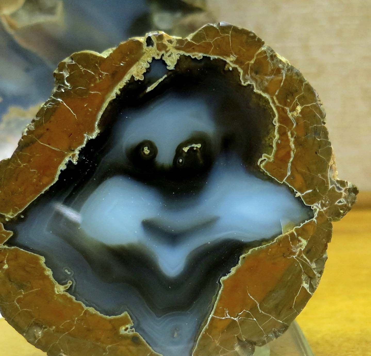 A thunder egg displaying Caspar the Friendly Ghost at Crater Rock Museum in Central Point, Oregon. Photo by Curtis Mekemson.