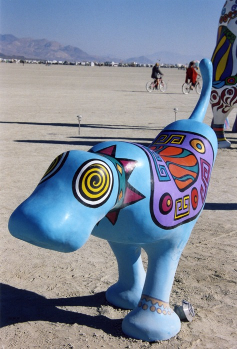 I am always amused by what is whimsical and slightly quirky. This Burning Man dog seems to fit.