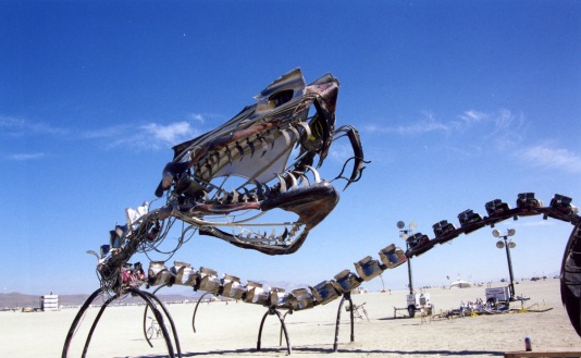 Like statuesque women, dragons are a popular Burning Man art form. This one was capable of breathing fire from its mouth and joints.