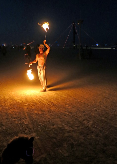 Fire dancer at Burning Man.