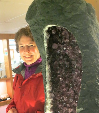 Large geode and Peggy Mekemson at the Crater Rock Museum in Central Point, Oregon.