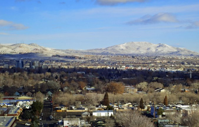 The view from our window at the Atlantis Hotel in Reno looking northeast. Black Rock City lies beyond the mountains.