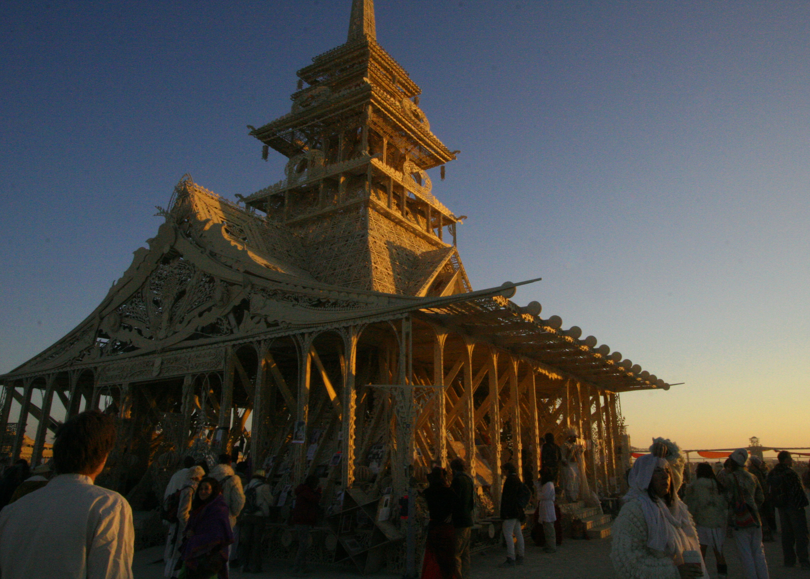 Beautiful buildings are another art form at Burning Man. Each year a different Temple is created.(Photo by Tom Lovering.)