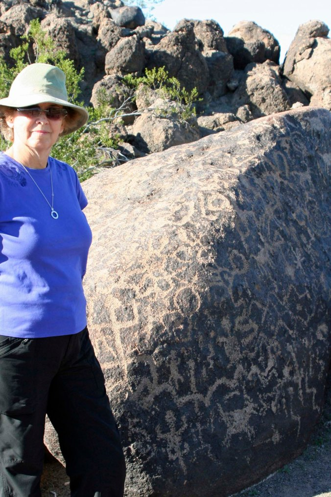 Rock covered with petroglyphs at Painted Rock Petroglyph Site in southern Arizona.
