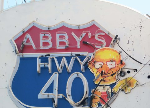 Historic neon sign advertising Abby's Bar in Reno, Nevada.