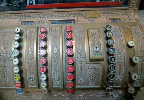 An antique cash register at the Hawthorne Ordnance Museum in Hawthorne, Nevada.