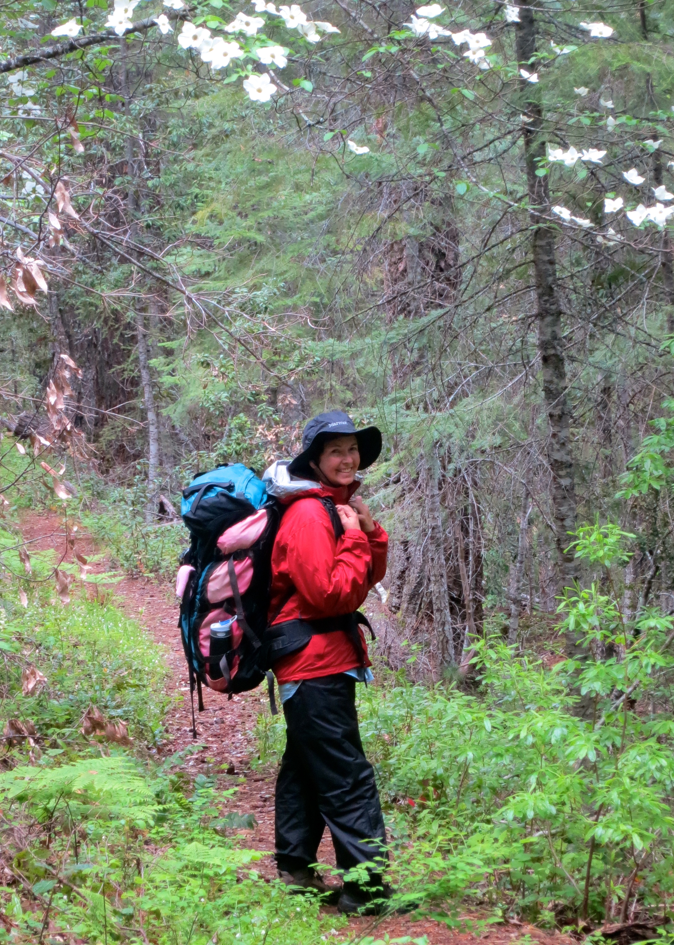 Peggy Mekemson hikes along the Butte Fork Trail through the Red Buttes Wilderness of Northern California.