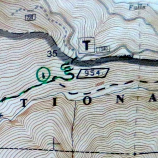 "A close up of the map shows the beginning of our hike. ""T"" marks the trailhead where we parked the truck. Topo lines reflect the steepness of the trail. The closer together, the steeper!"