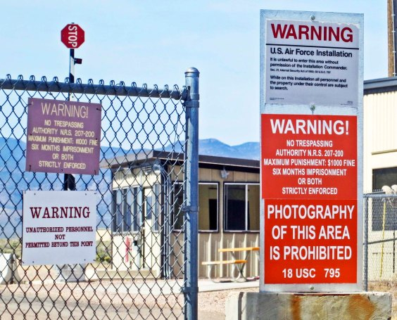 Gate to top secret Area 51 in southern Nevada.