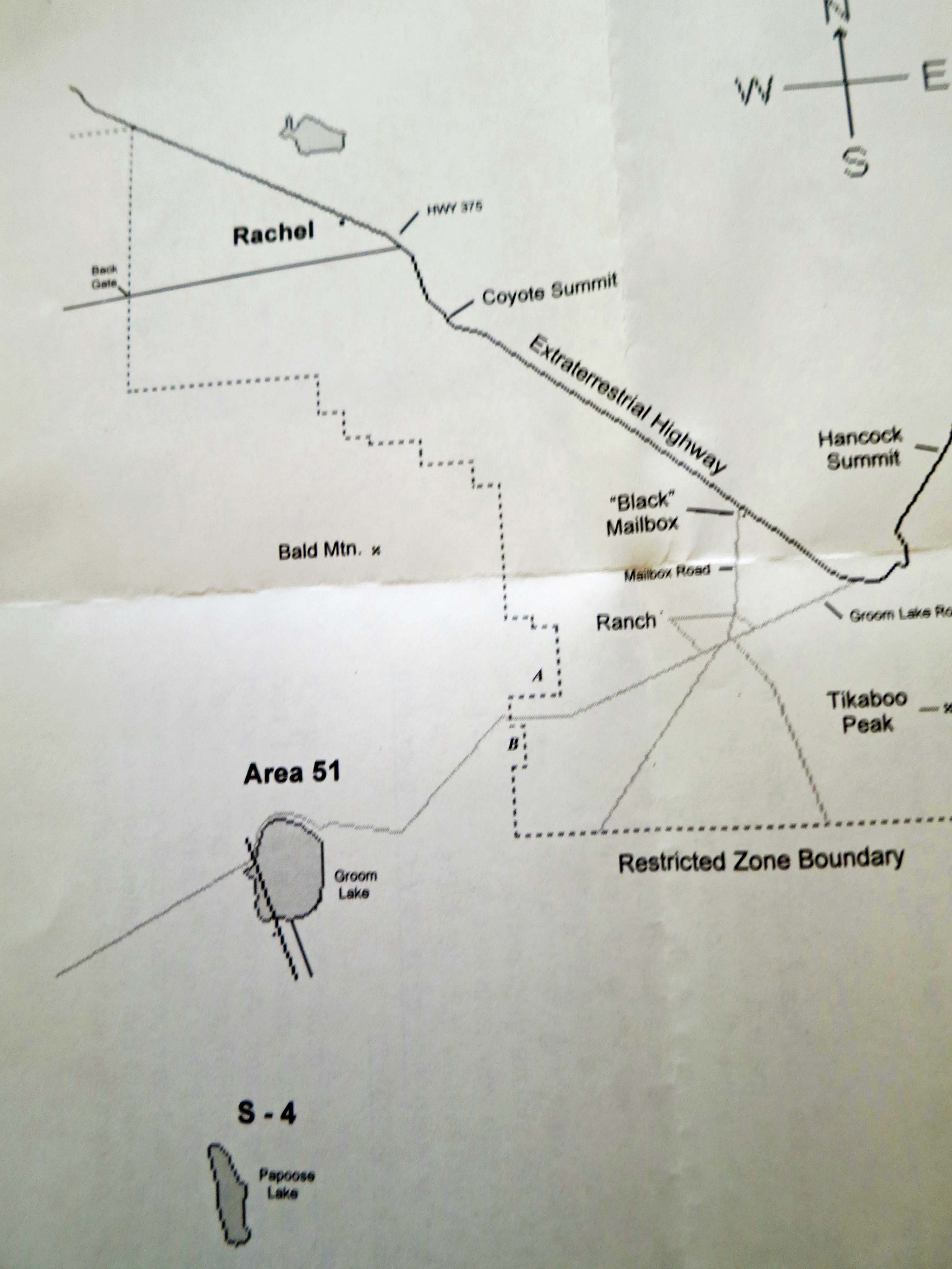 Map showing Rachel, Area 51, and roads. We followed the road next to Rachel that led to the back gate. The main part of Area 51 is located at Groom Lake, located just below the Area 51 name.
