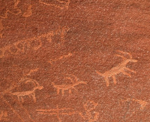 Big horn sheep petroglyph at Valley of Fire State Park in Nevada.