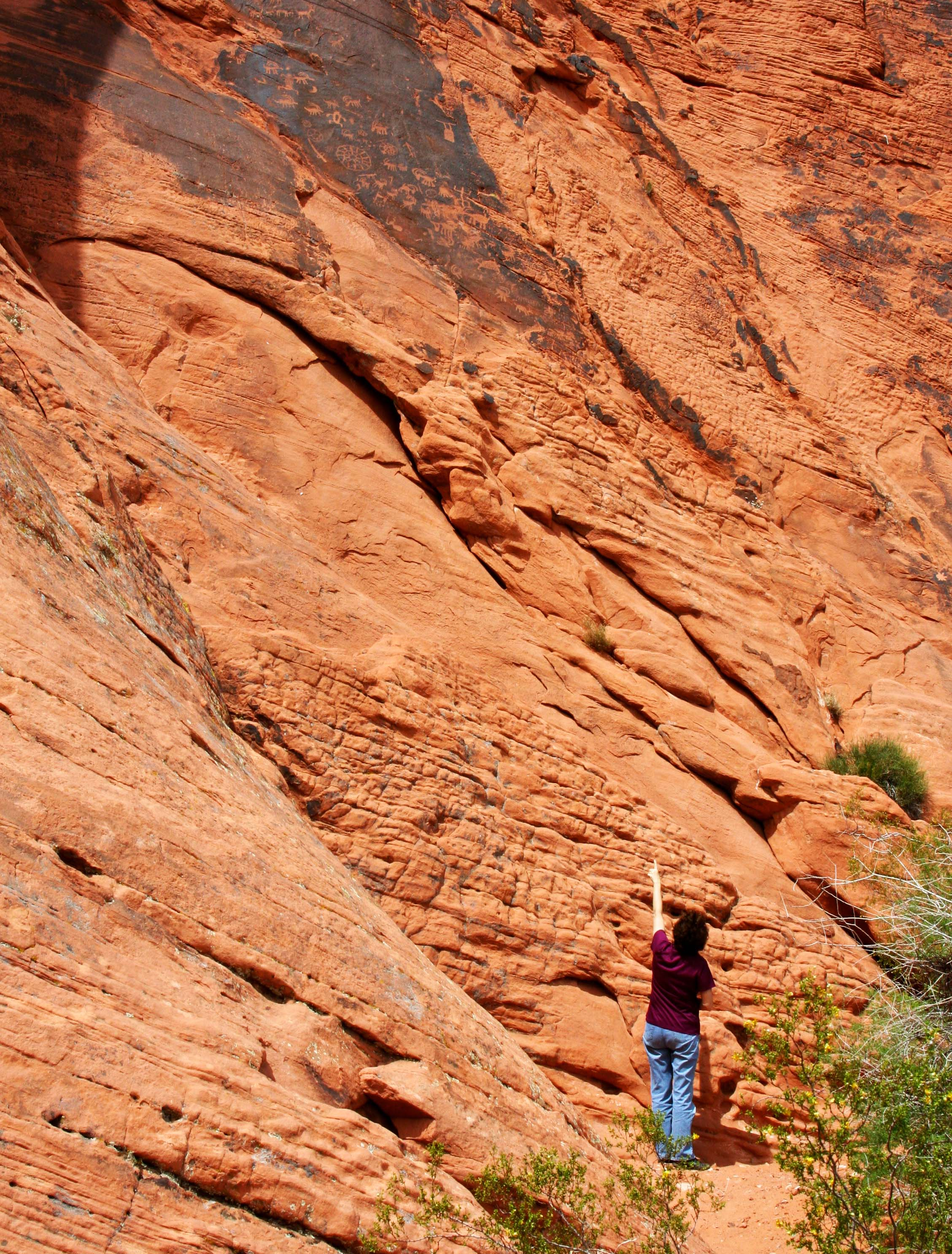 Petroglyphs high on cliff at Valley of Fire State Park.