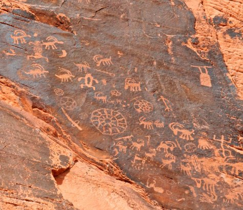 Petroglyphs on cliff at Valley of Fire State Park in Nevada.