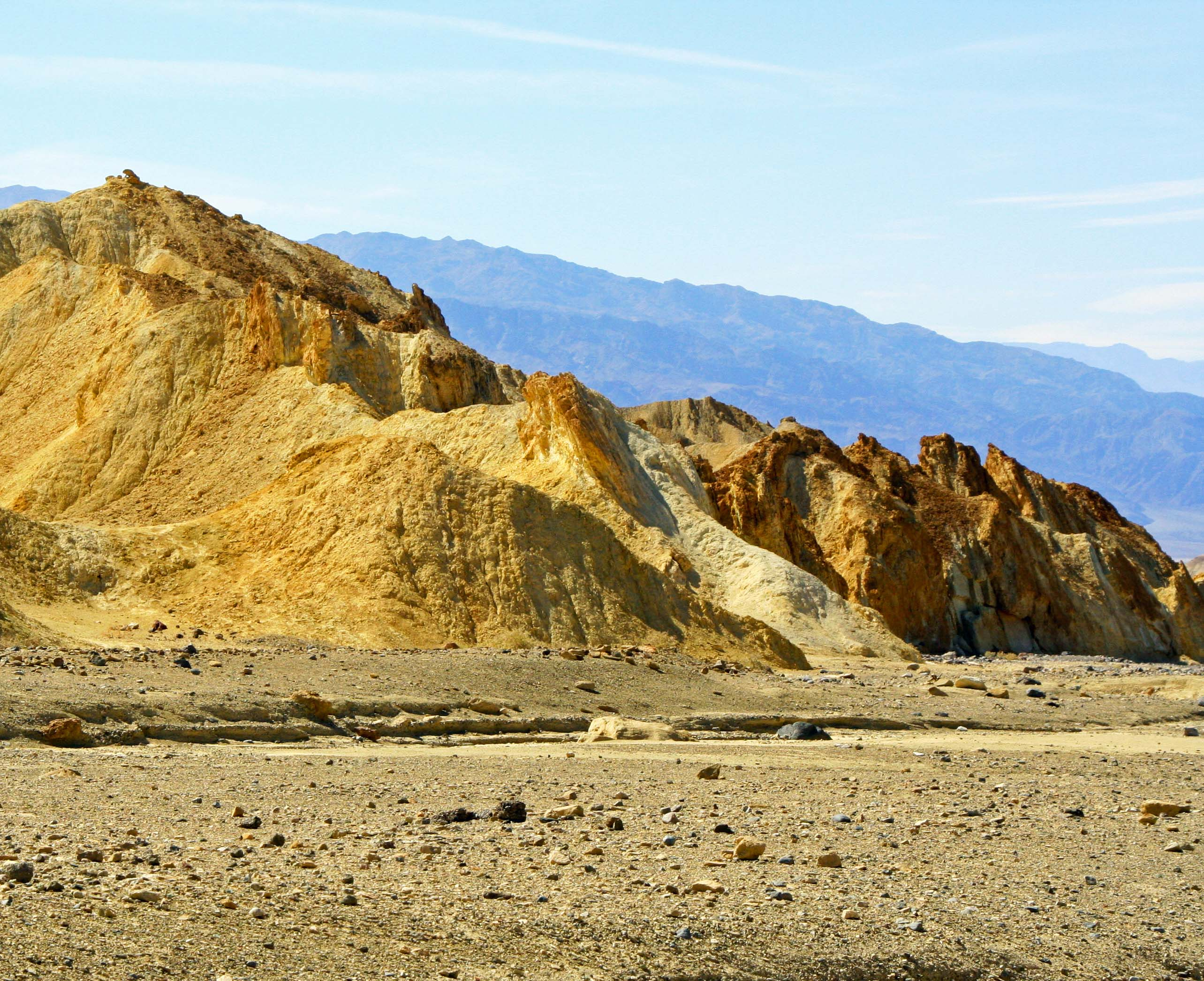 Distant mountains appear purple in Twenty Mule Team Canyon, Death Valley.