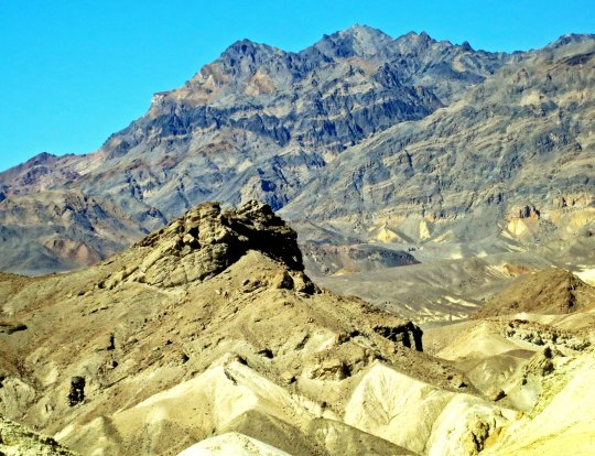 Funeral Mountains provide a dramatic backdrop in Twenty Mule Team Canyon, Death Valley.
