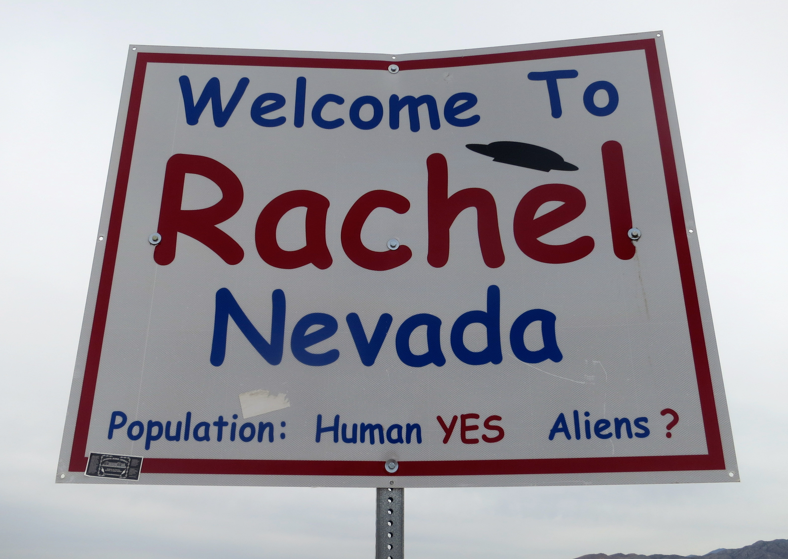 The welcome sign to Rachel, Nevada.