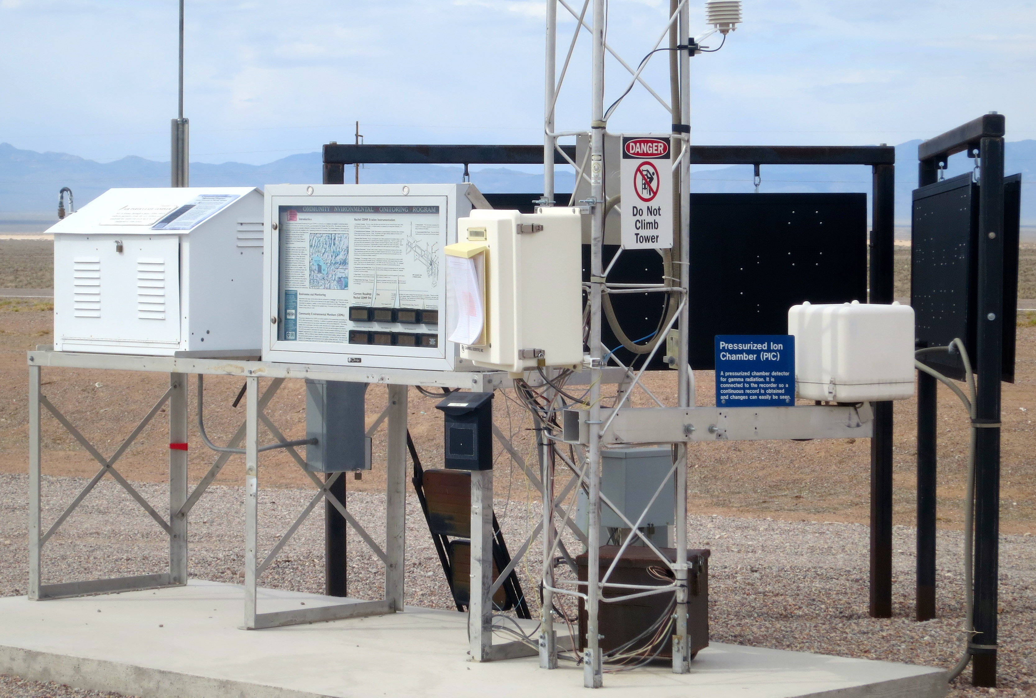 Monitoring for radiation downwind from the Nevada Atomic Test Site is serious business. Even today– years after the testing was halted. This station is found in Rachel but there are several more scattered throughout the region.