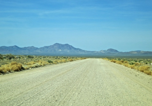 The unmarked, unpaved road into the back Gate of Area 51.