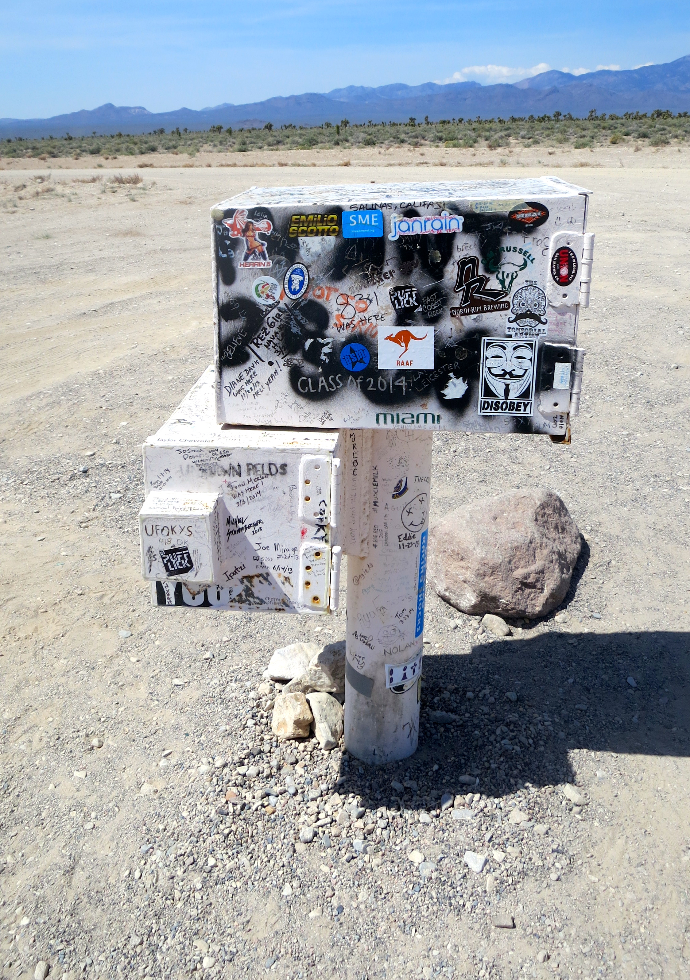 The Black Mailbox noting the entrance to Area 51 on the ET Highway in southern Nevada.
