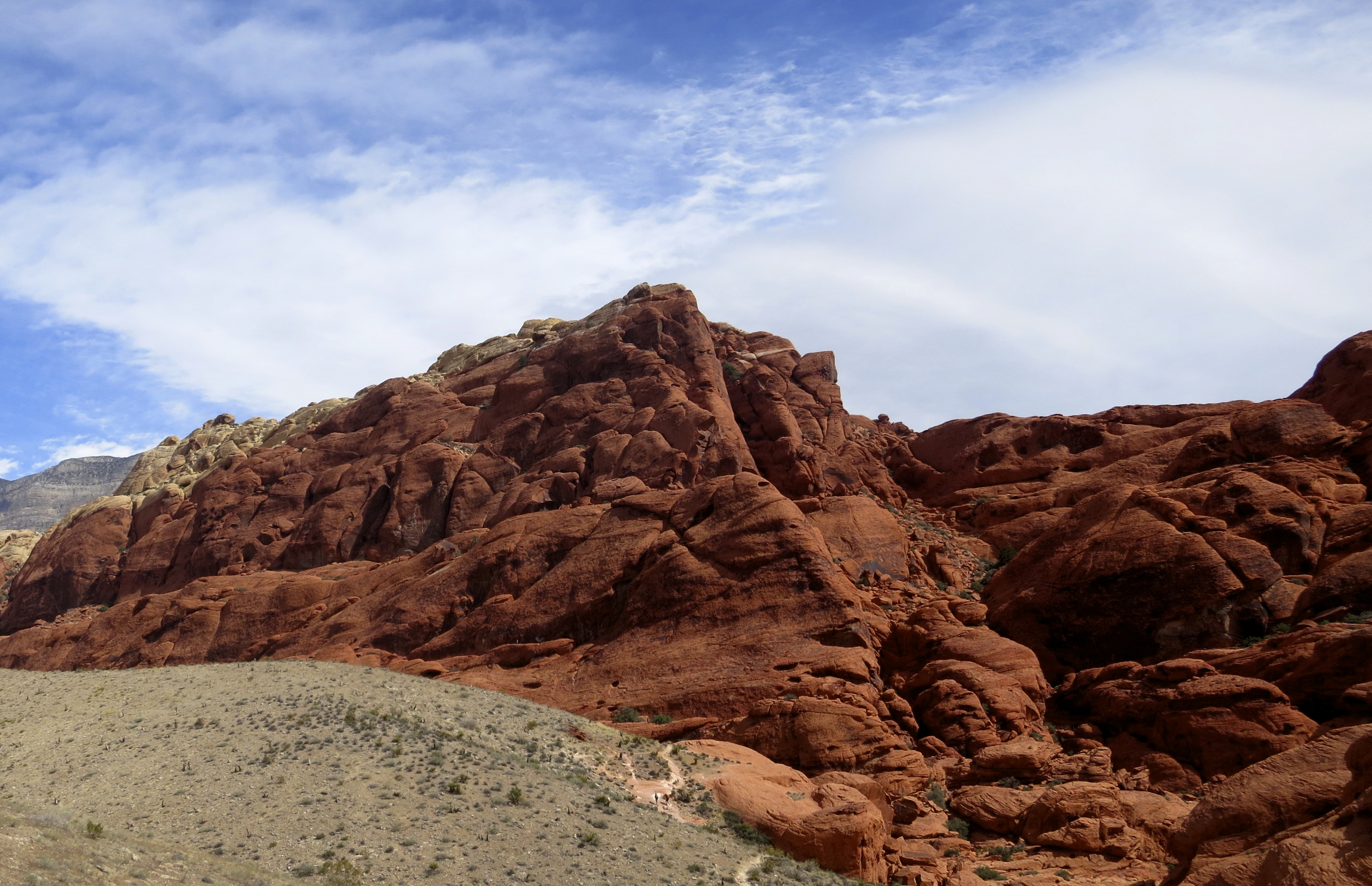Red sandstone hill in Red Rock Canyon National Conservation Area outside of Las Vegas, Nevada.
