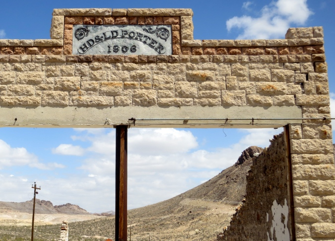 HD and LD Porter sign in Rhyolite, Nevada.