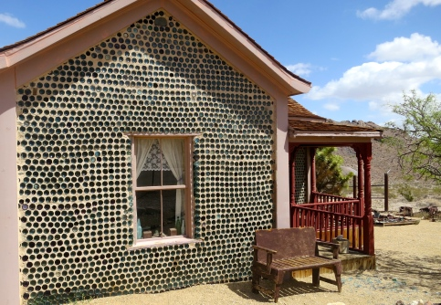 Tom Kelly's hose made of glass bottles in Rhyolite, Nevada.