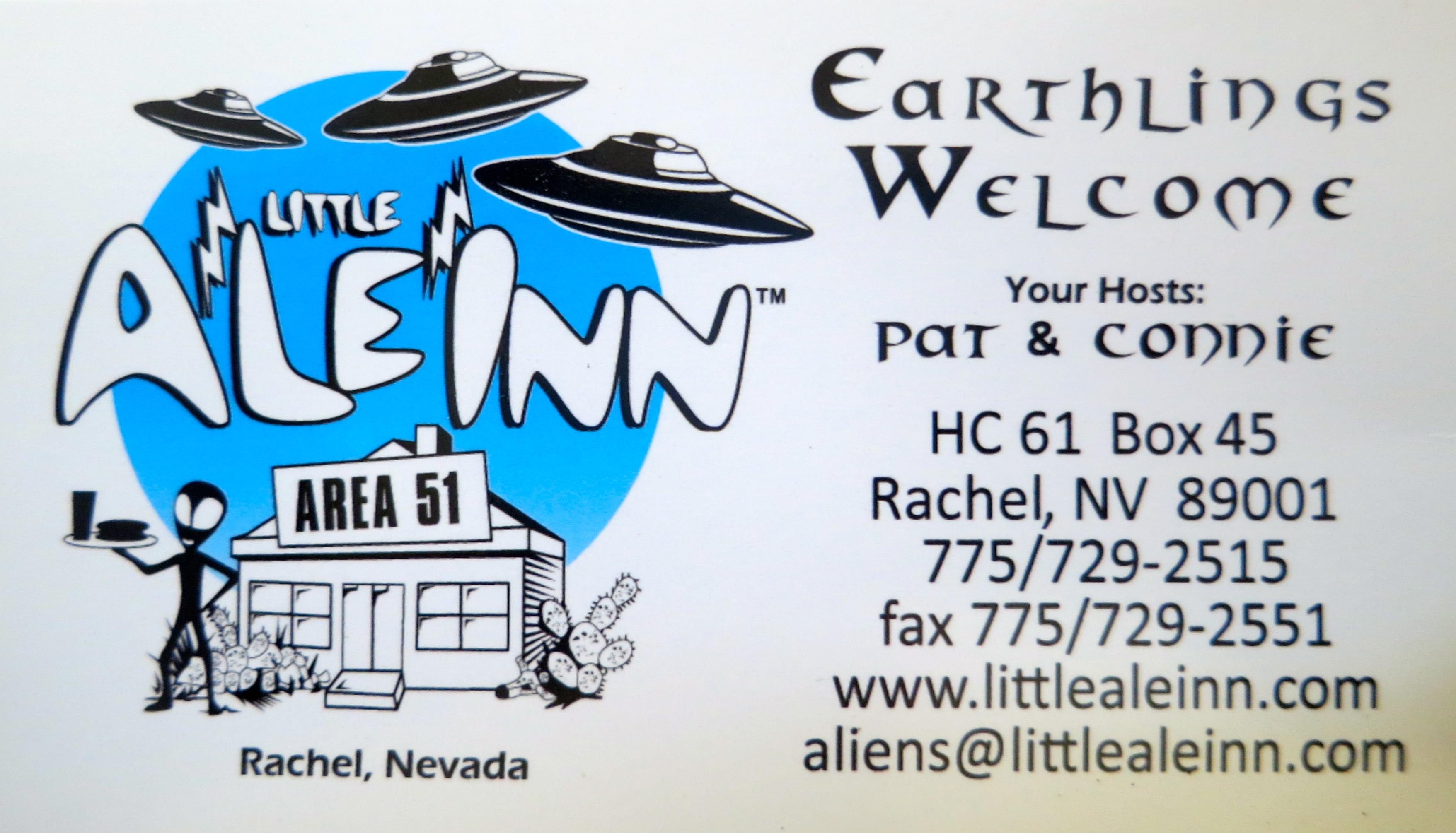 Business card for Little A'le'Inn in Rachel Nevada.