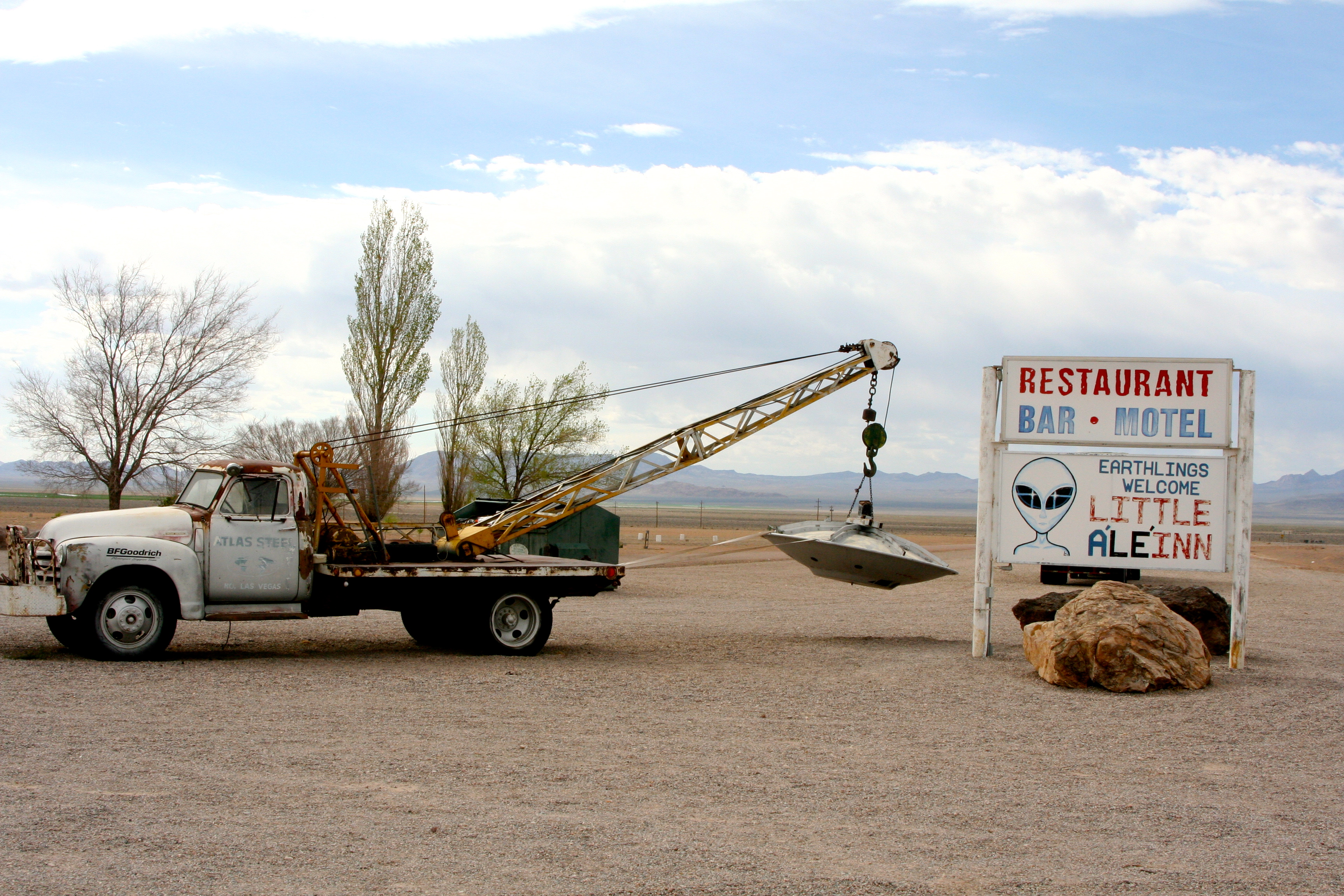 Tow truck and 'flying saucer' in Rachel, Nevada.