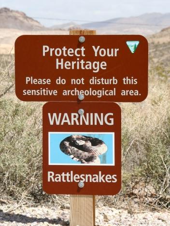 Rattlesnake warning sign in Rhyolite, Nevada.