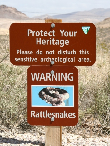Rattlesnake warning sign in Rhyolite, Nevada.