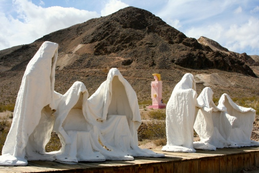 Lady Desert and the Last Supper sculptures at the Goldwell Open Air Museum located east of Death Valley.