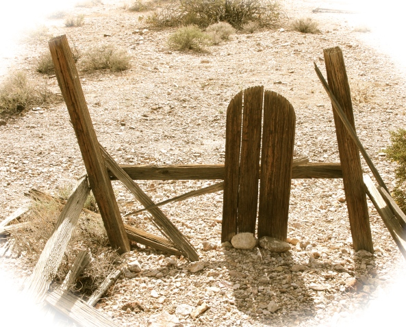 Old grave at the ghost town of Rhyolite outside of Death Valley.