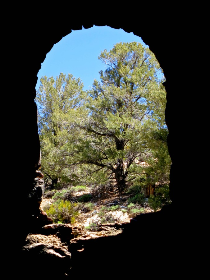 View looking out from inside a charcoal kiln in Death Valley.