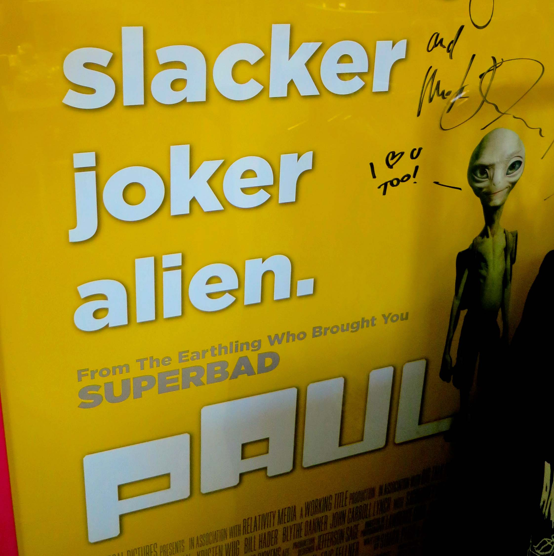 Poster for the movie Paul hanging on the wall of the A'le'Inn in Rachel, Nevada.