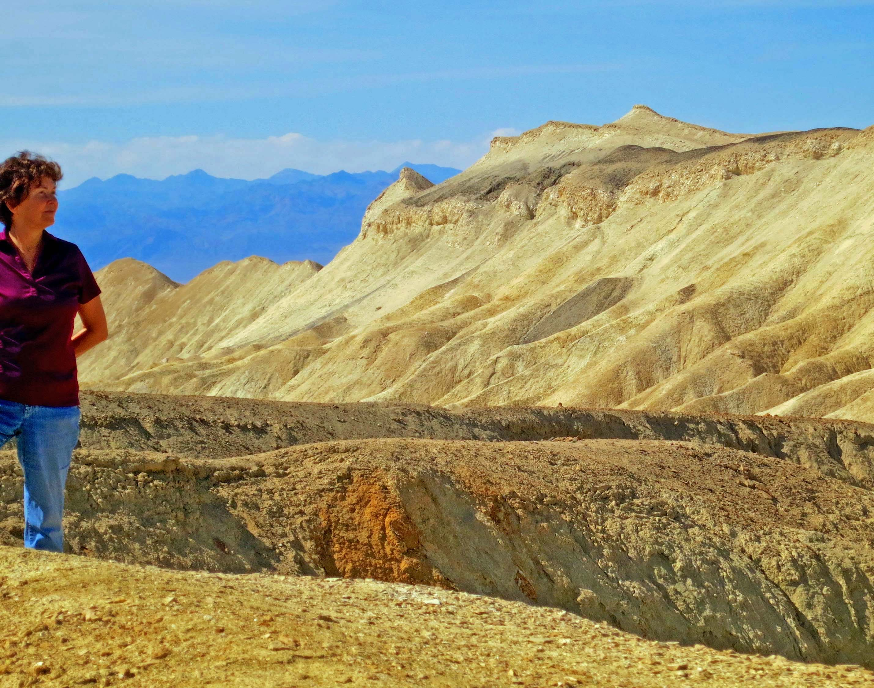Peggy Mekemson checks out the view at Twenty Mule Team Canyon in Death Valley.