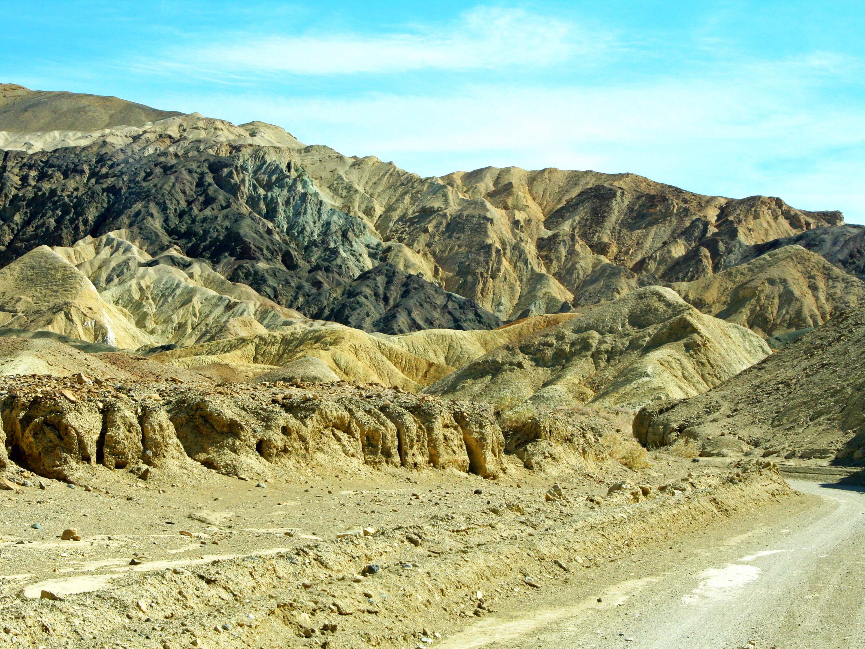Road through Twenty Mule Team Canyon in Death Valley.
