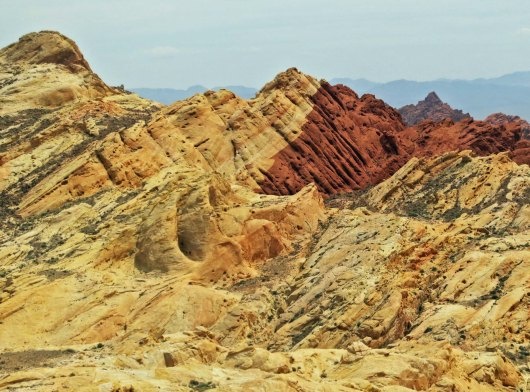 Red and tan sandstone in the Valley of Fire.
