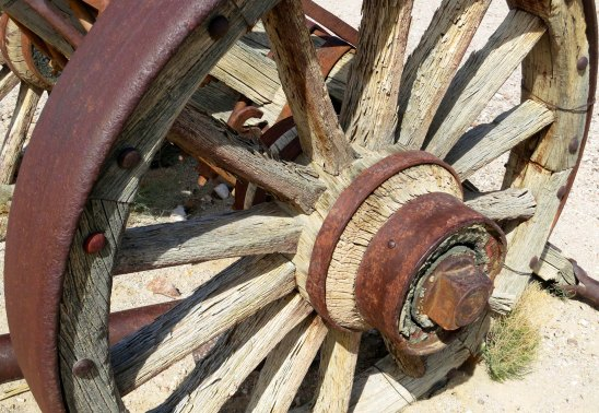 Wagon wheel at the Goldwell Open Air Museum near Beatty, Nevada.
