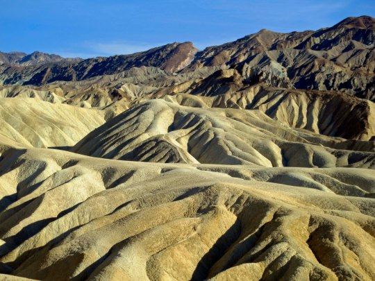Erosion of rocks created in an ancient lake bed gives Zabriskie Point its unique look.