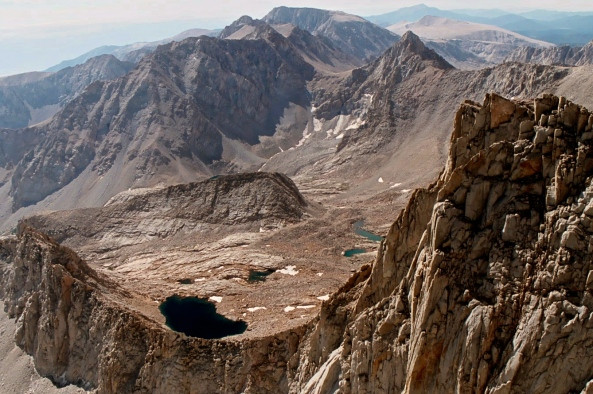 View looking down from the top of Mt. Whitney. Photo by Curtis Mekemson.