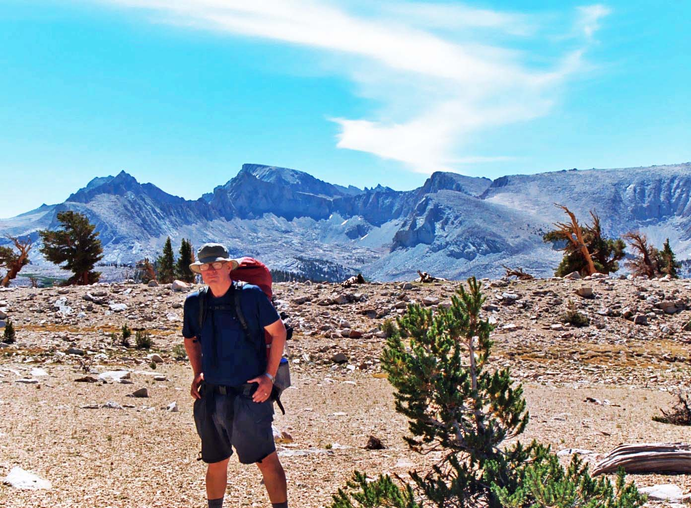 View of Mt. Whitney from the west including Curtis Mekemson.